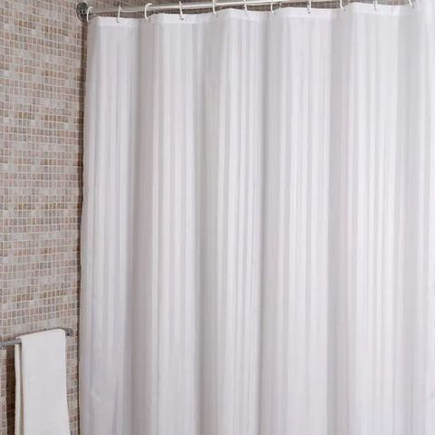 Croydex White Stripe Machine Washable Shower Curtain